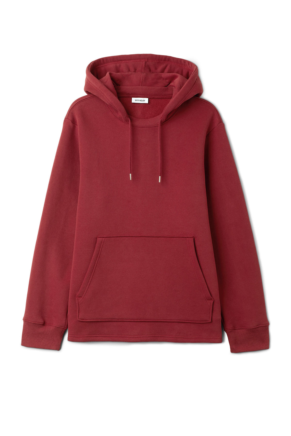 Front image of Weekday troupe hoodie in red