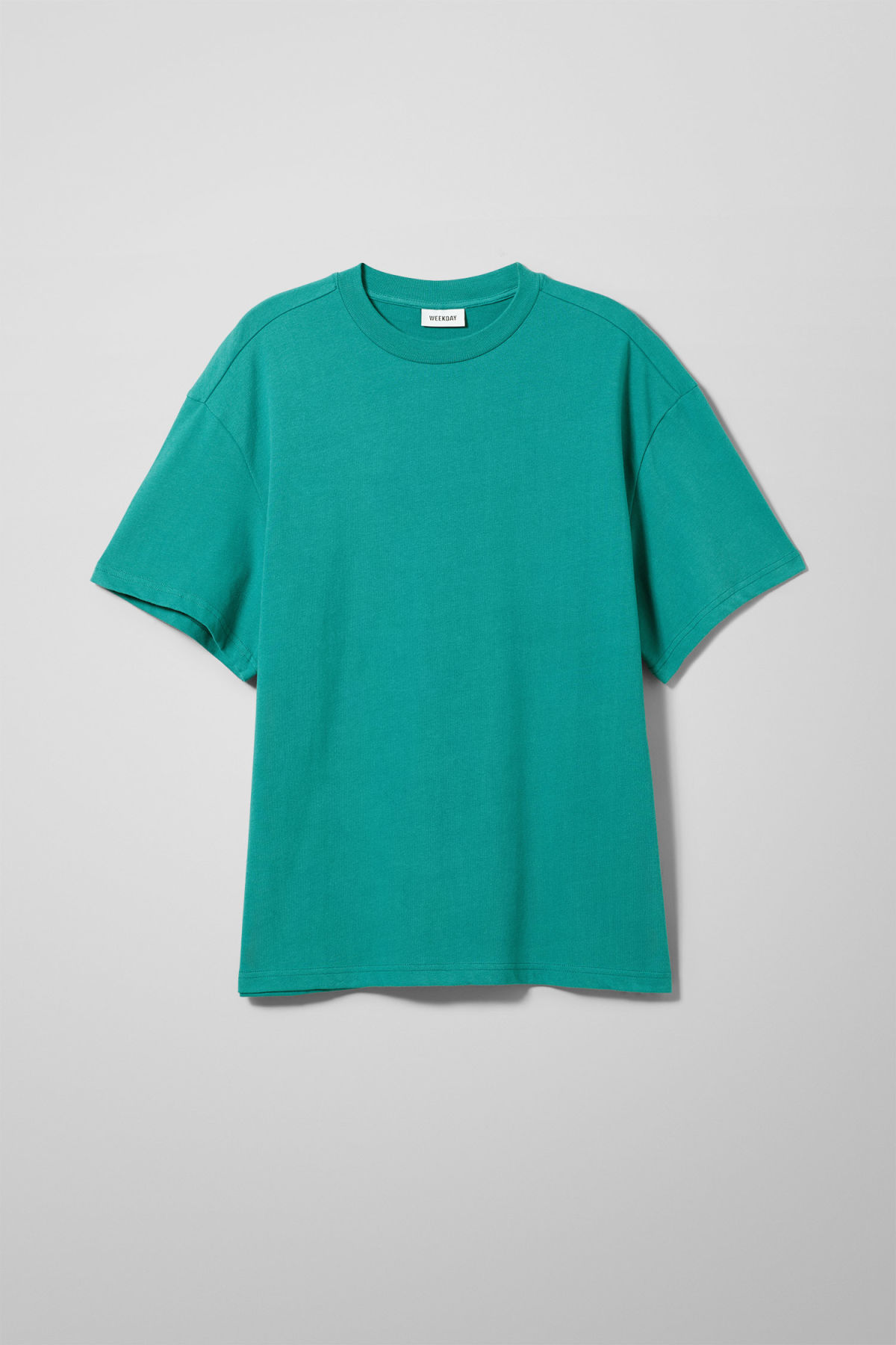 Front image of Weekday great t-shirt in turquoise