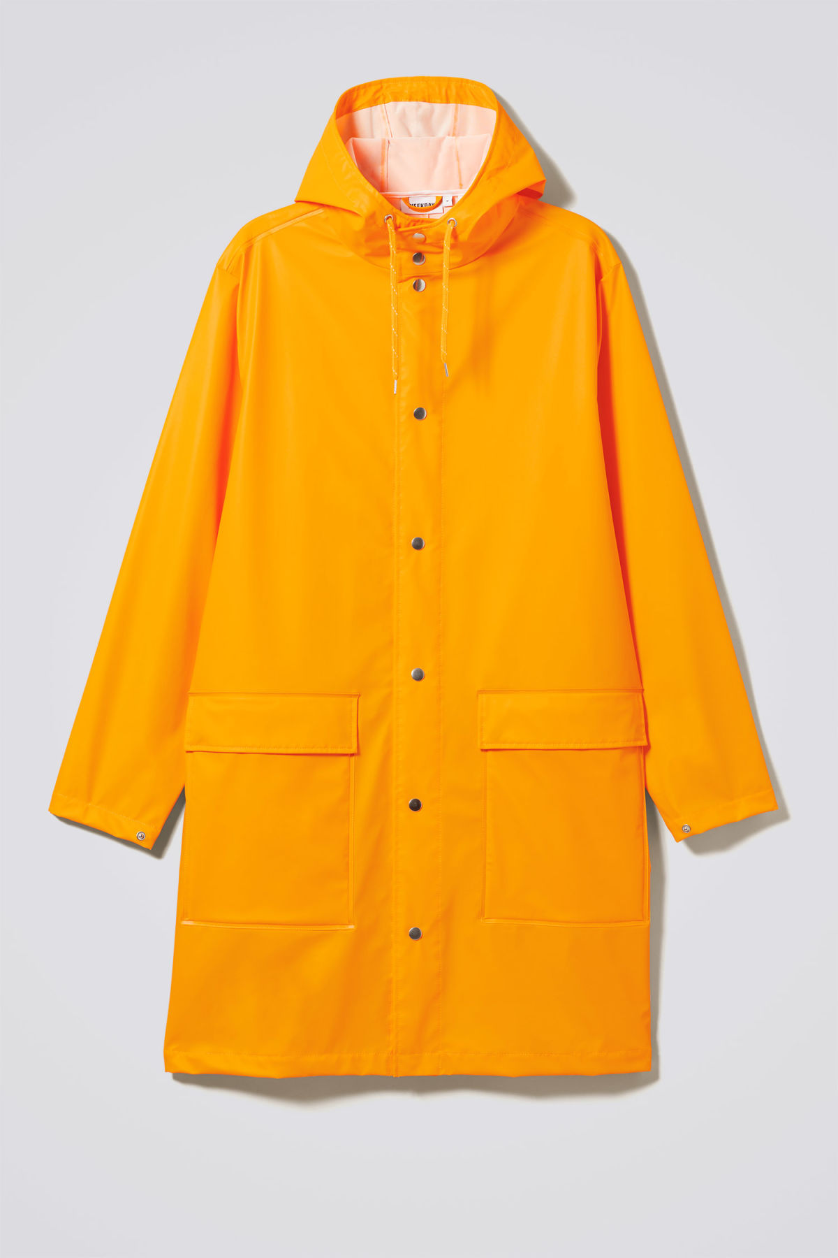 Front image of Weekday sune raincoat in yellow
