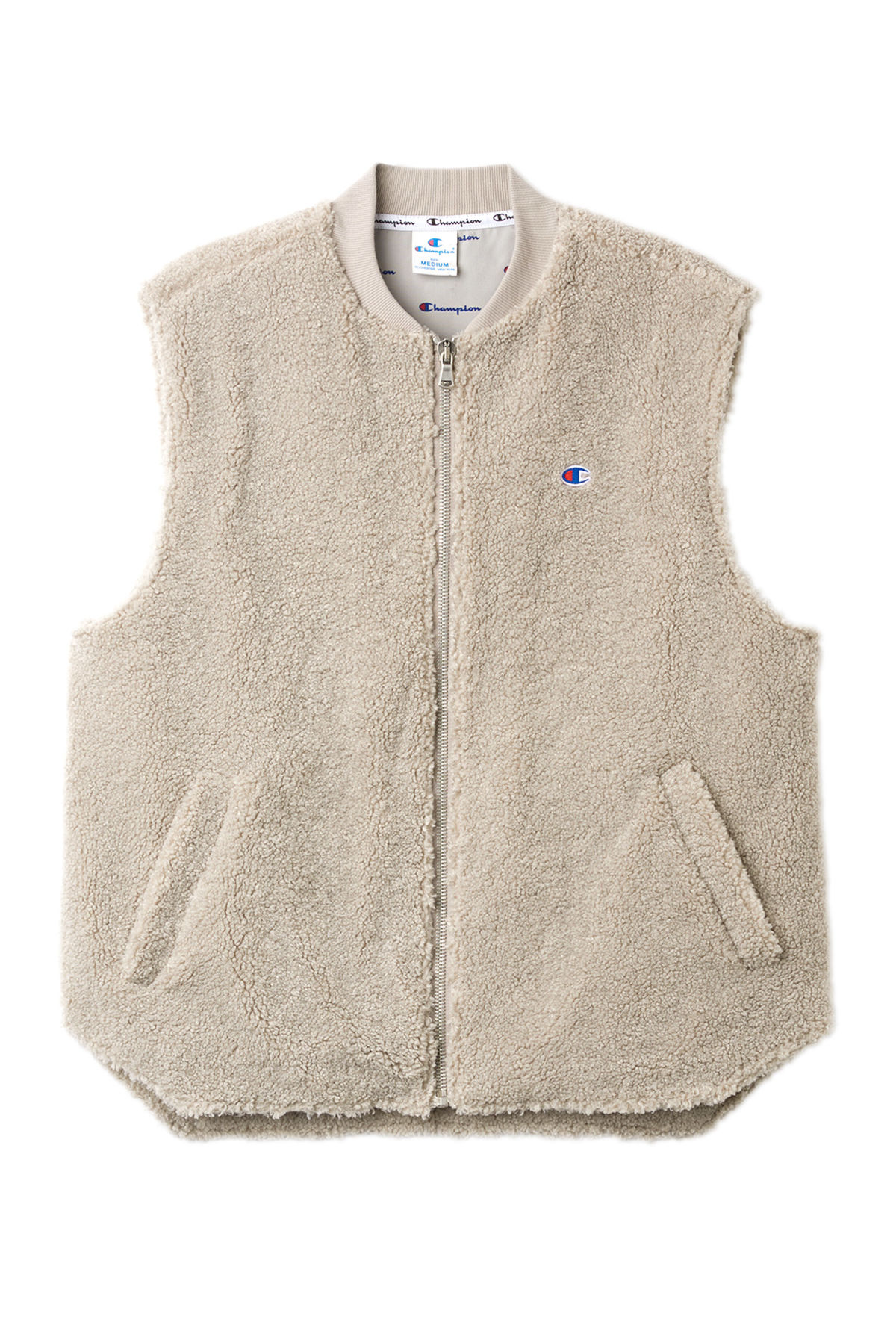 Front image of Weekday row sherpa vest in beige