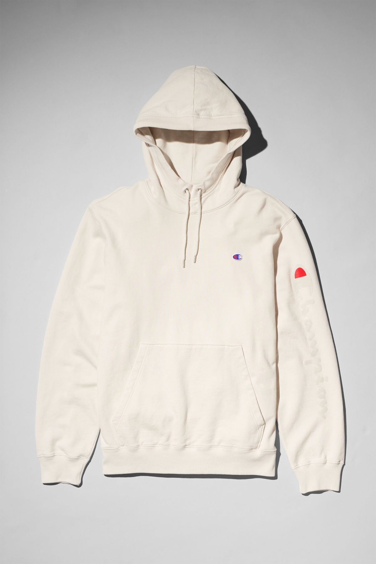Front image of Weekday skate hoodie in white