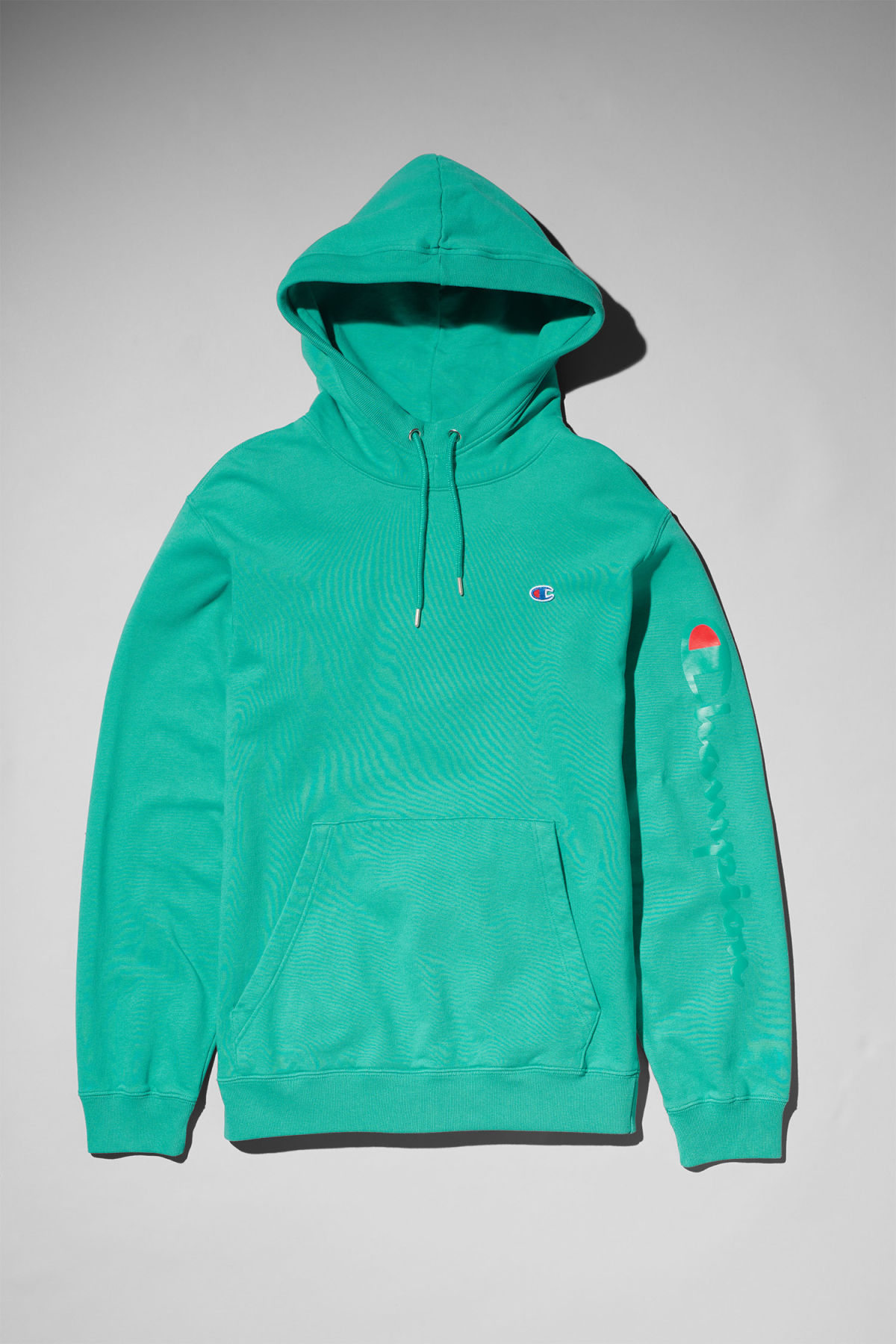 Front image of Weekday skate hoodie in green