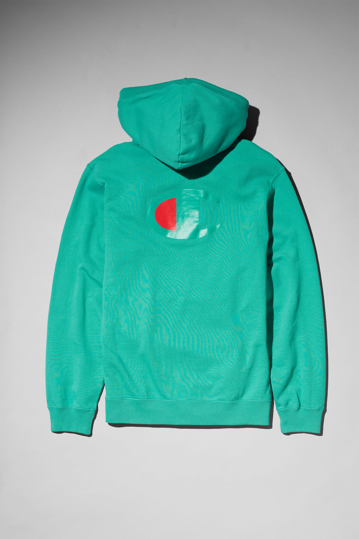 Back image of Weekday skate hoodie in green