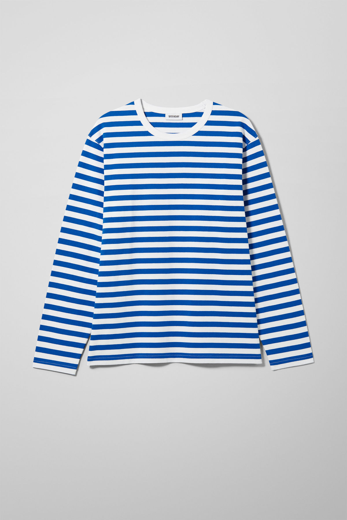 Front image of Weekday moca long sleeve in blue