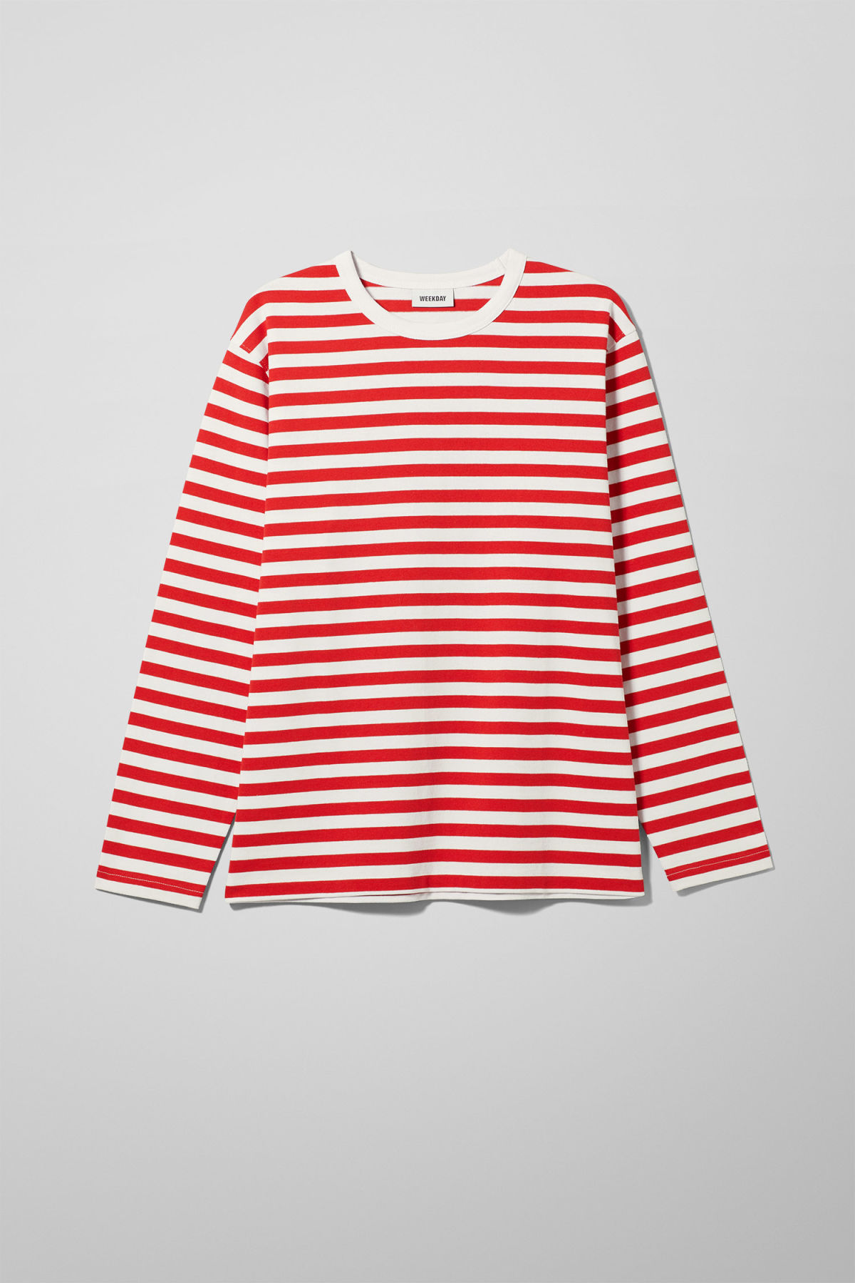 Front image of Weekday moca long sleeve in red