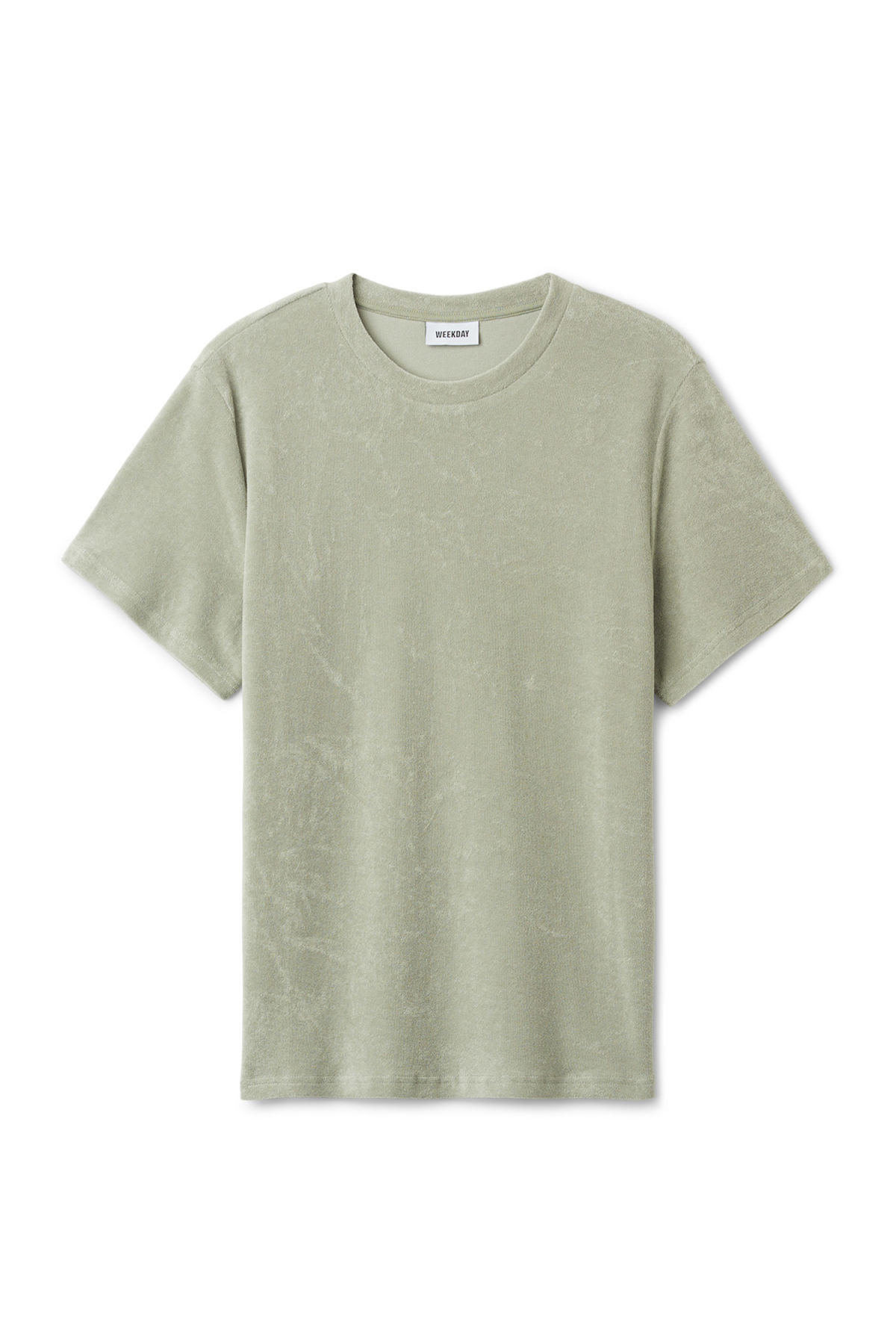 Front image of Weekday towel t-shirt in green