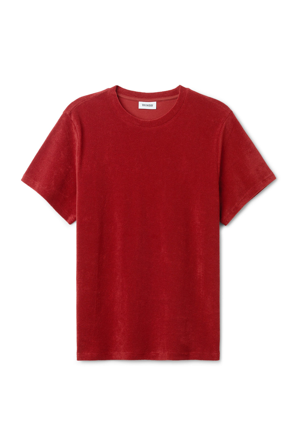 Front image of Weekday towel t-shirt in red