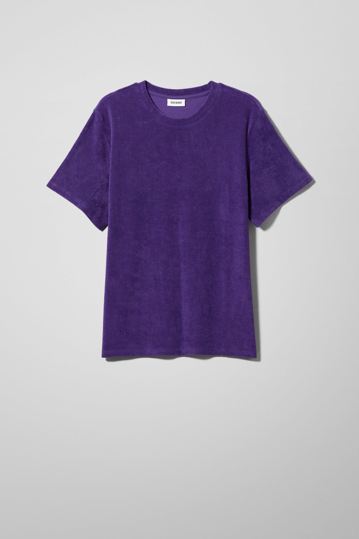 Front image of Weekday towel t-shirt in purple