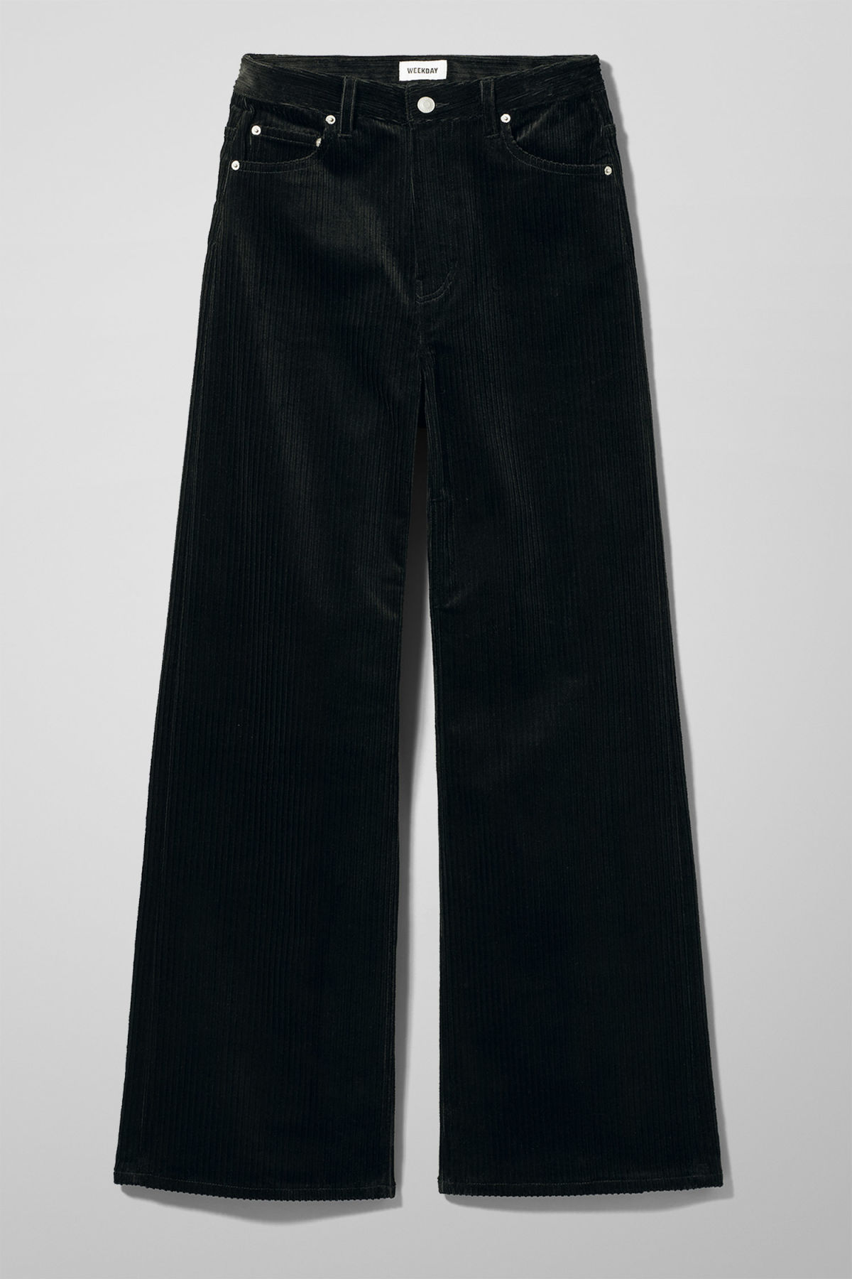 Front image of Weekday ace corduroy trousers in black