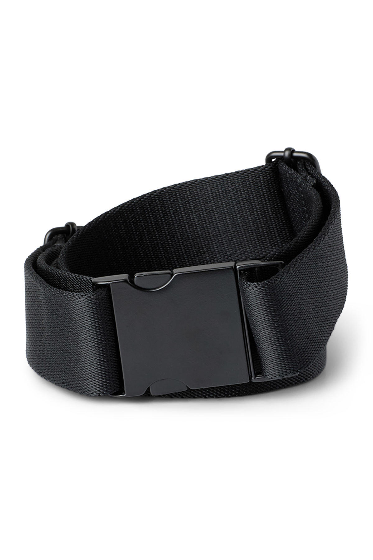 Front image of Weekday buckle belt in black