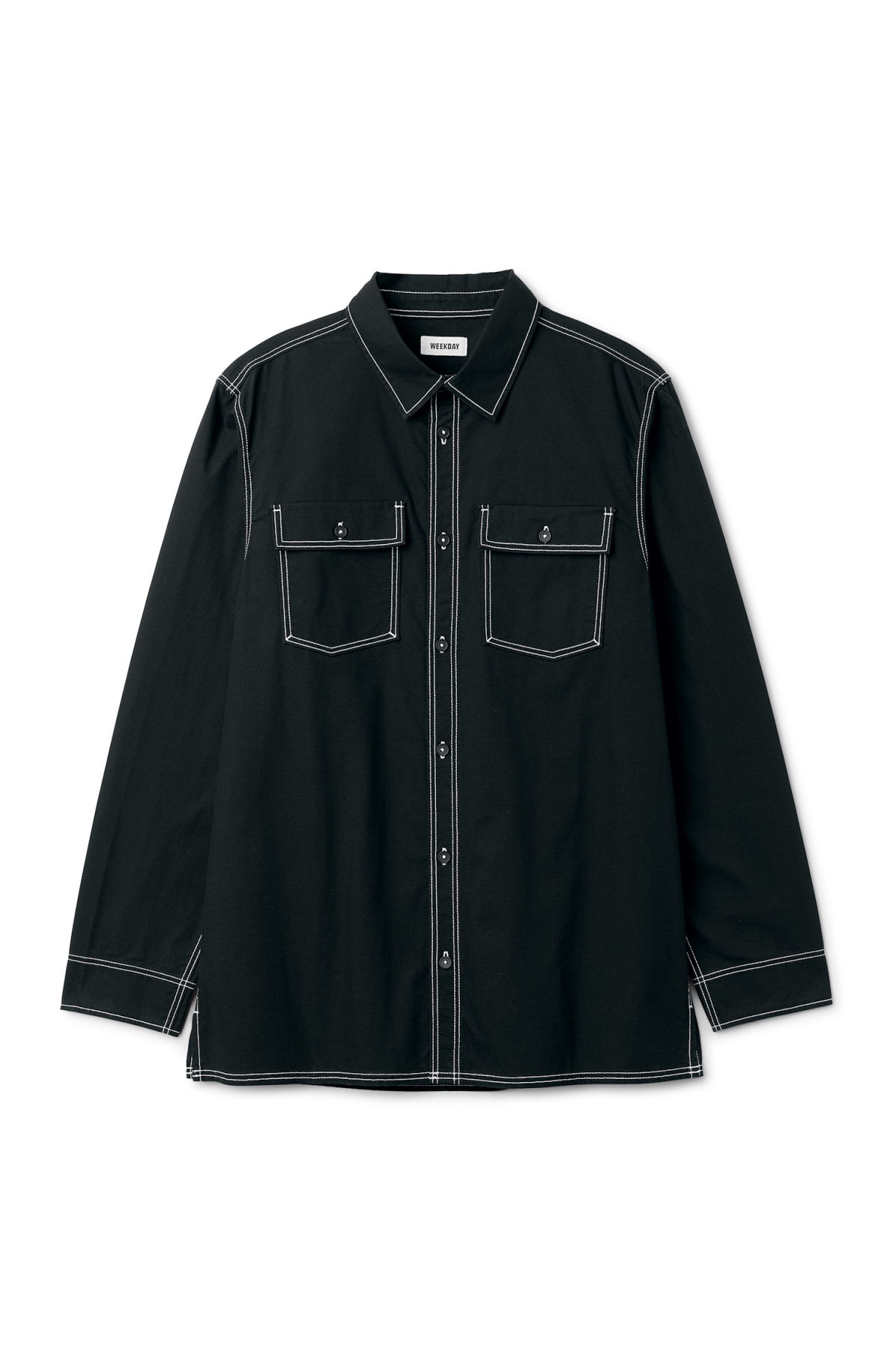 Front image of Weekday deft shirt in black