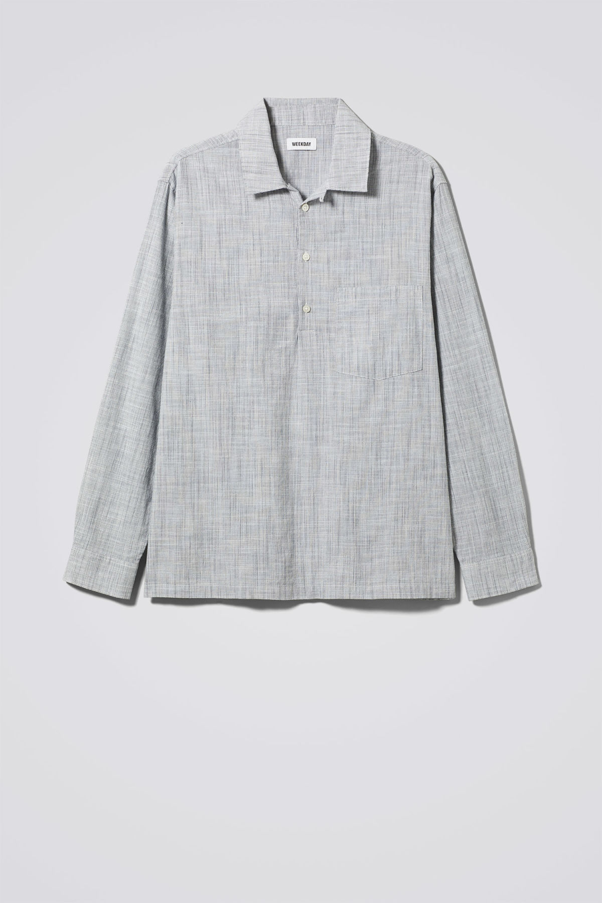 Front image of Weekday vito striped shirt in white