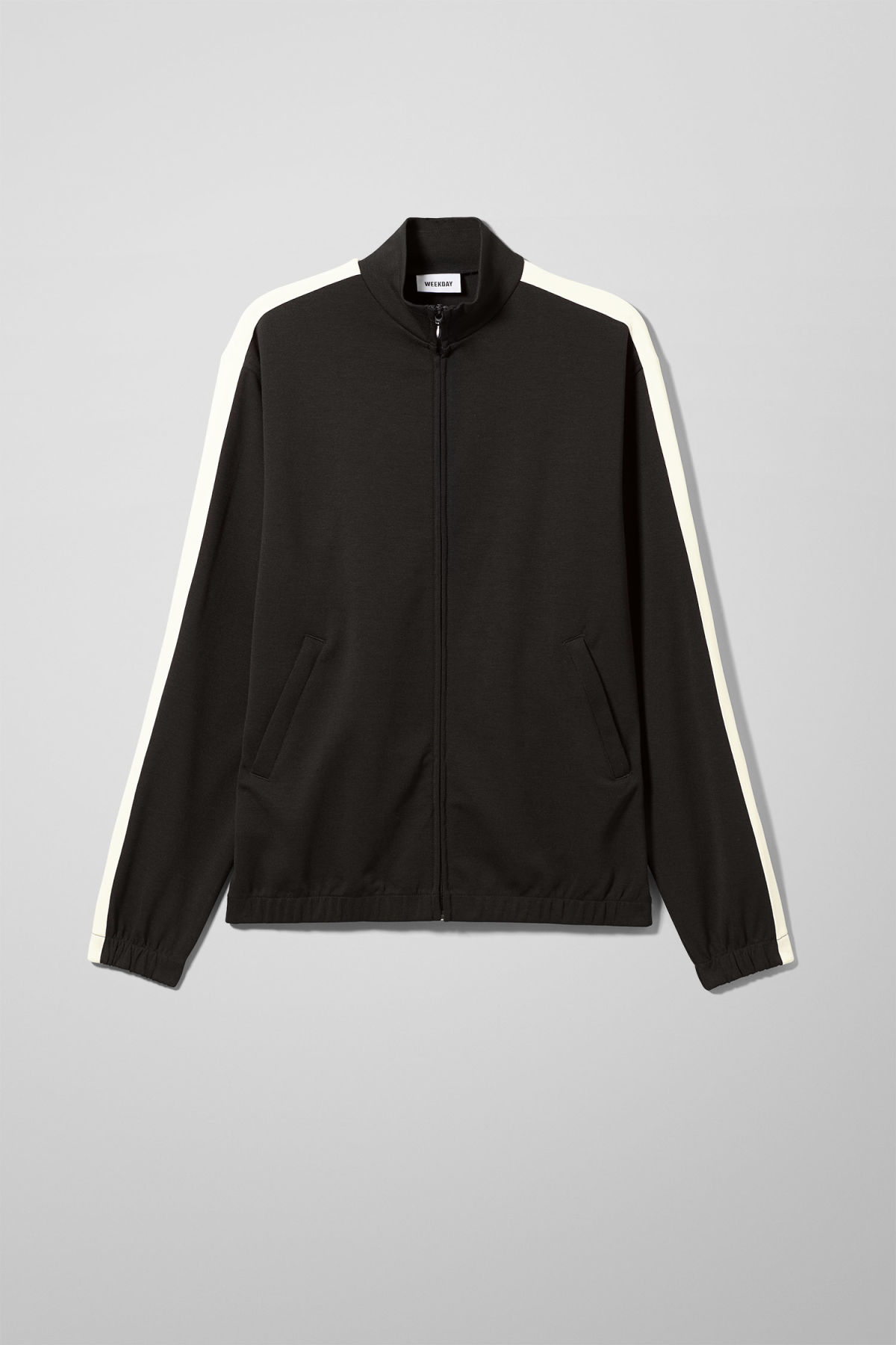 Front image of Weekday track sweatshirt  in black