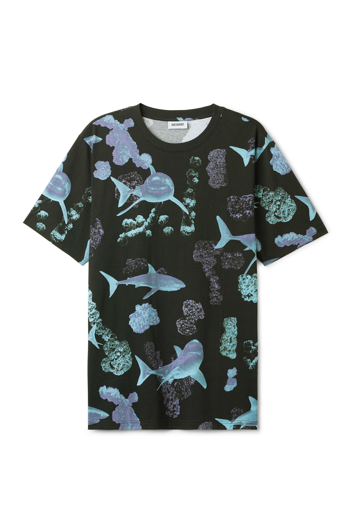Front image of Weekday frank coral t-shirt in black