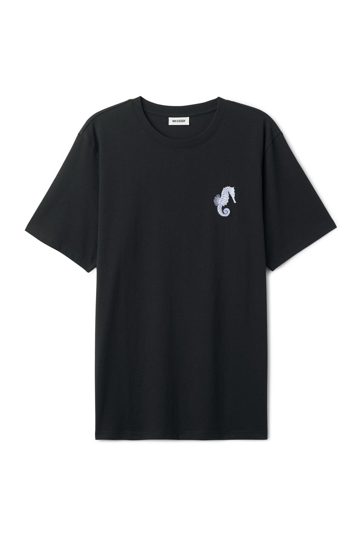 Front image of Weekday frank seahorse t-shirt in black