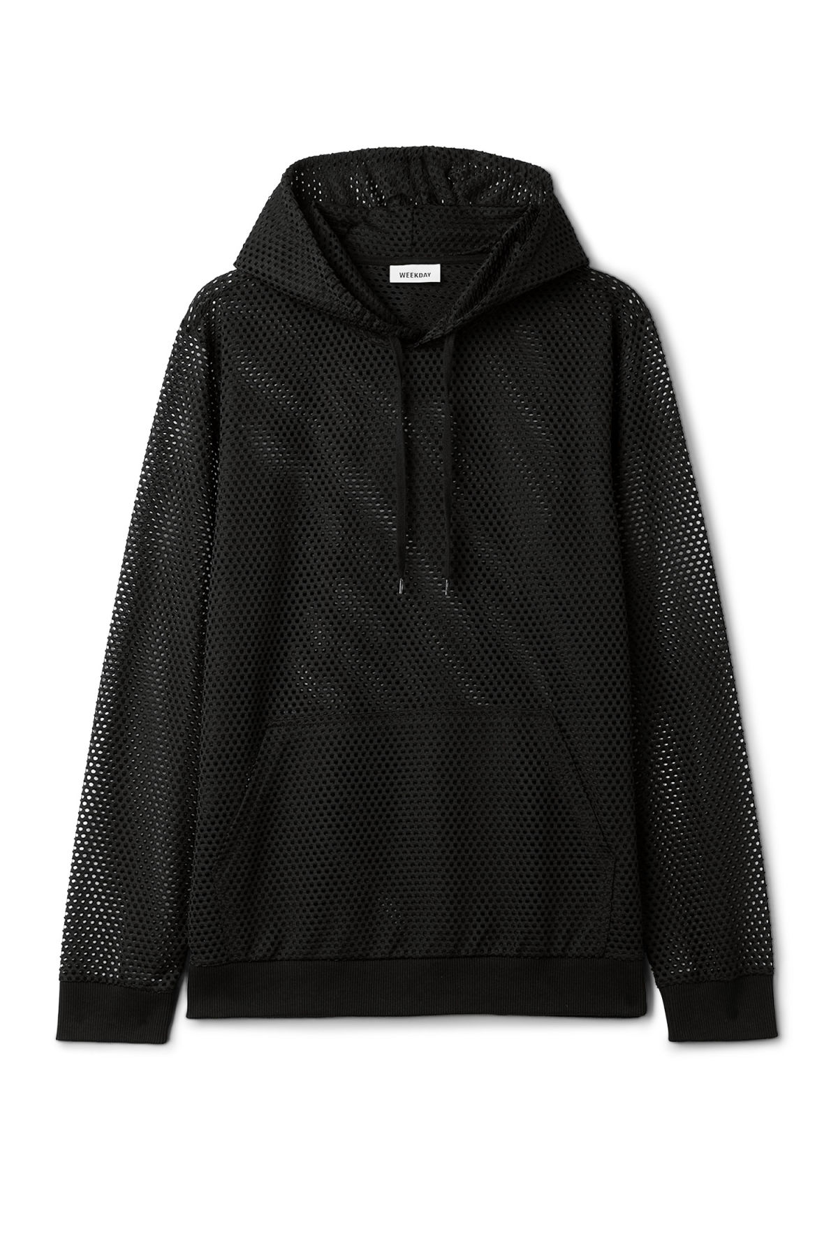 Front image of Weekday kit mesh hoodie in black