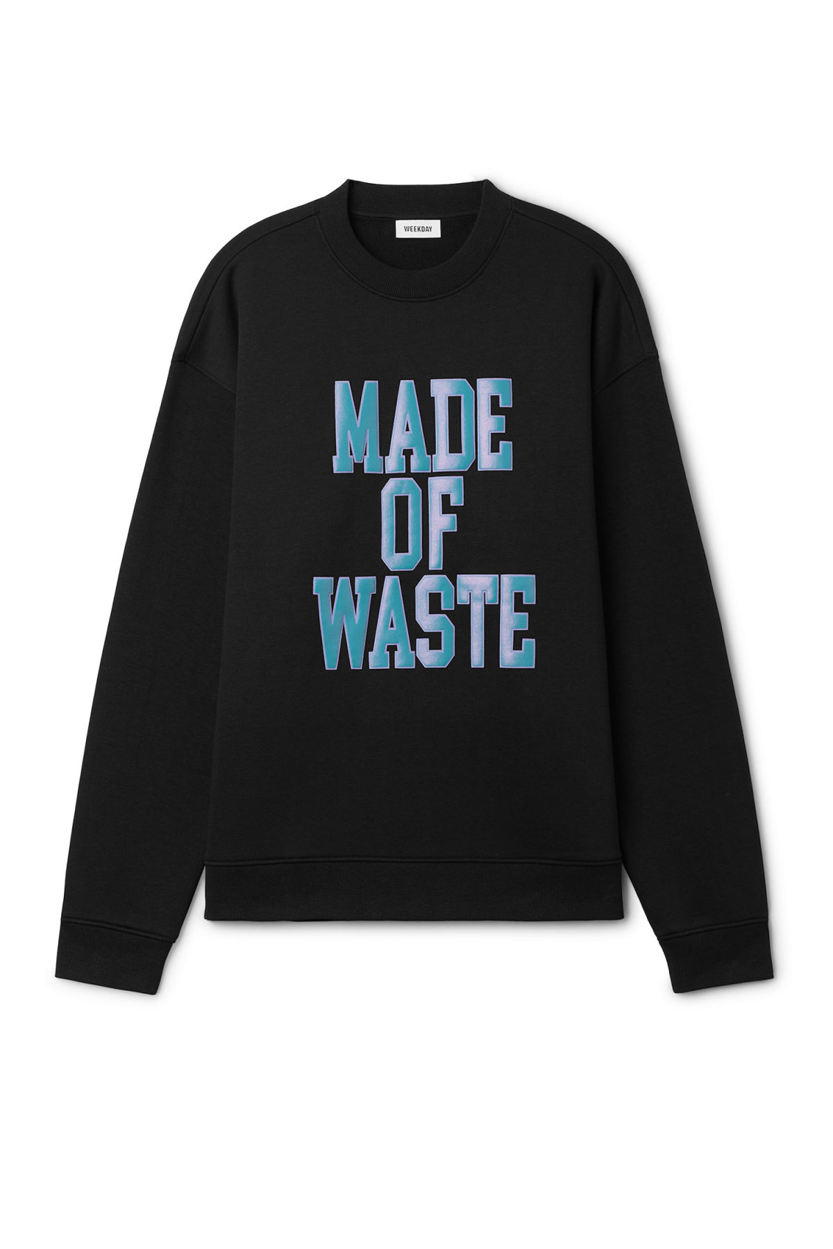 Front image of Weekday big steve waste sweatshirt  in black