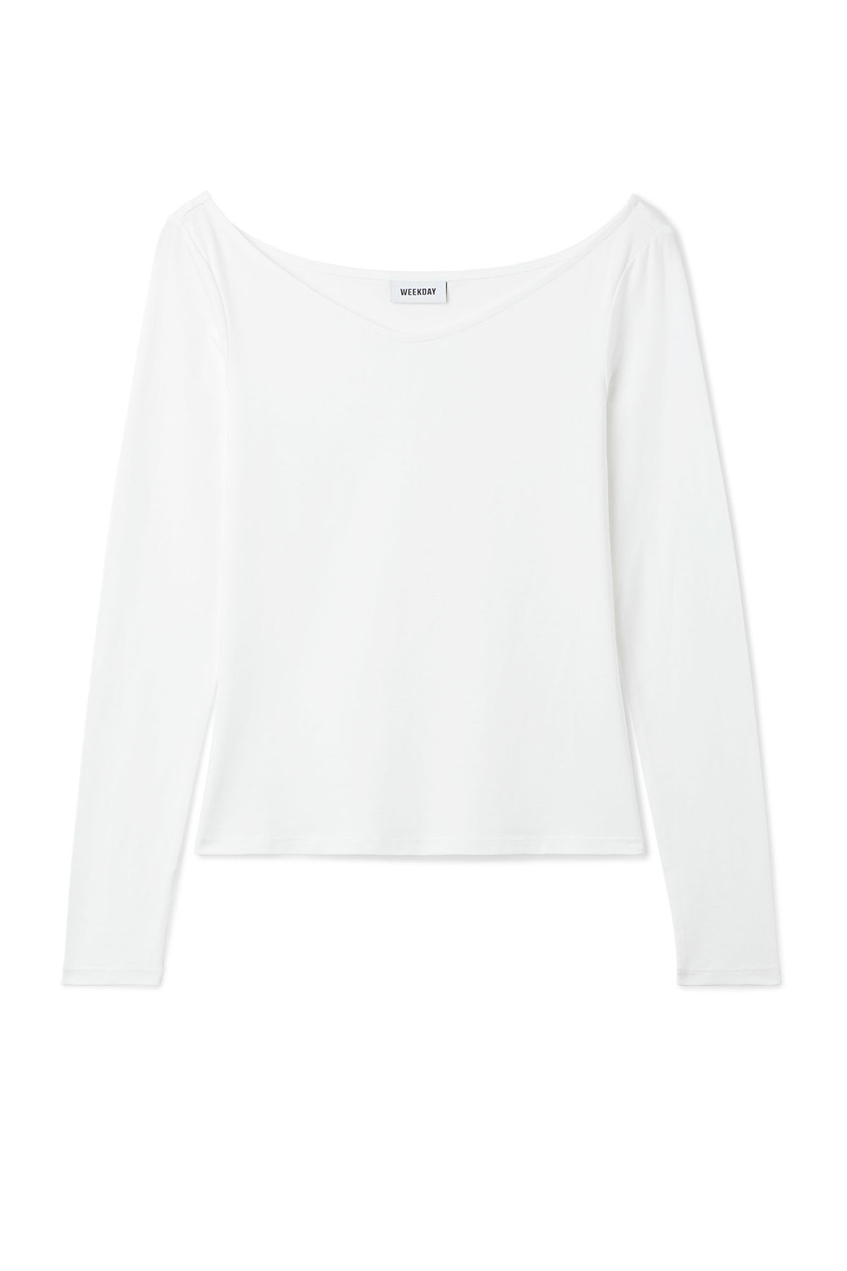Front image of Weekday line long sleeve in white