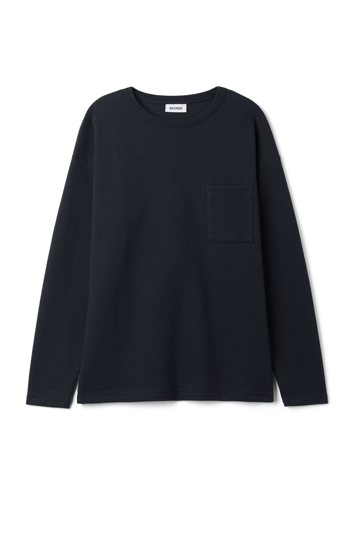 Front image of Weekday hopper struct long sleeve in blue