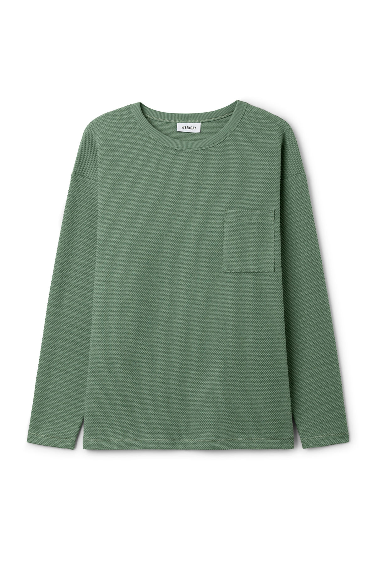 Front image of Weekday hopper struct long sleeve in green