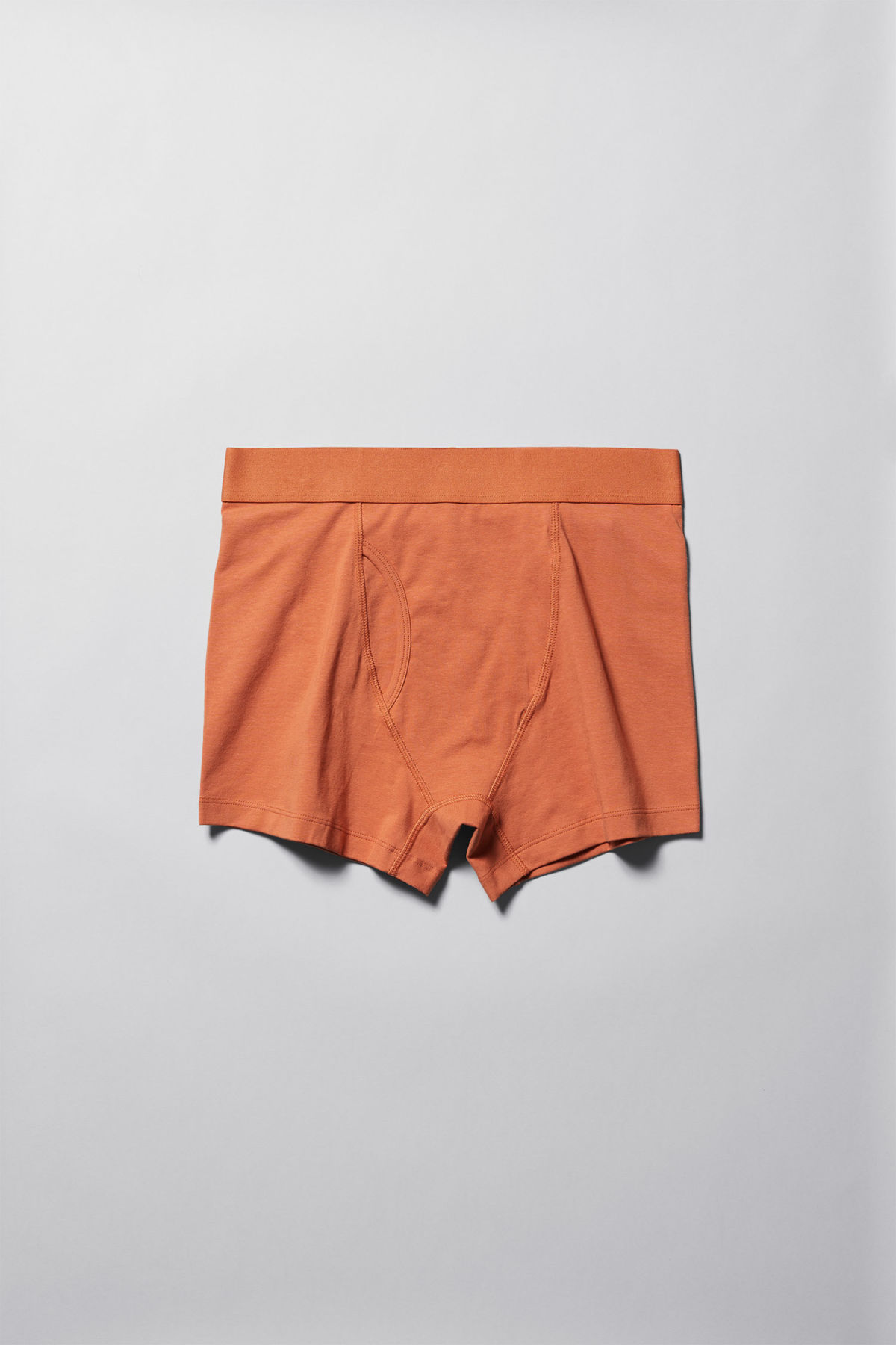 Front image of Weekday johnny trunks in orange