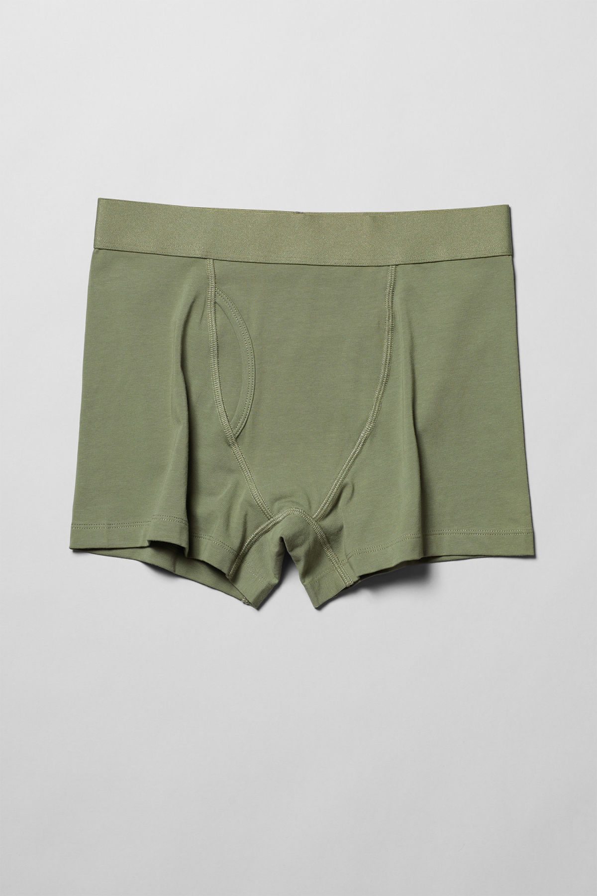 Front image of Weekday johnny trunks in green
