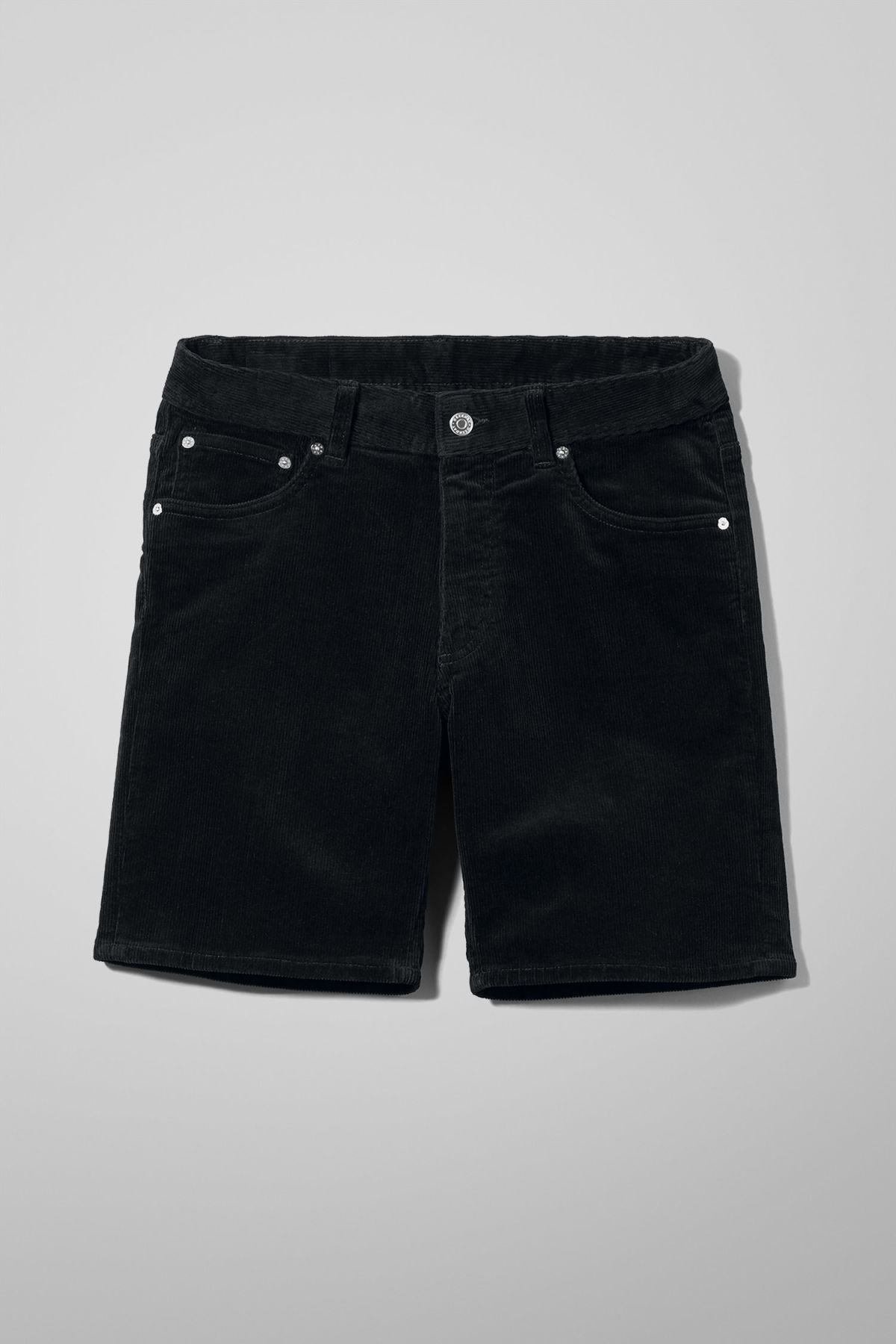 Front image of Weekday lucas corduroy shorts in black