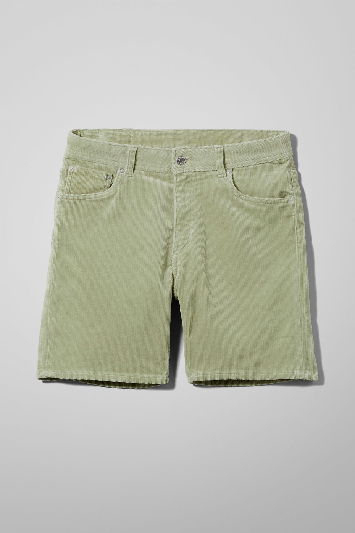 Front image of Weekday lucas corduroy shorts in green
