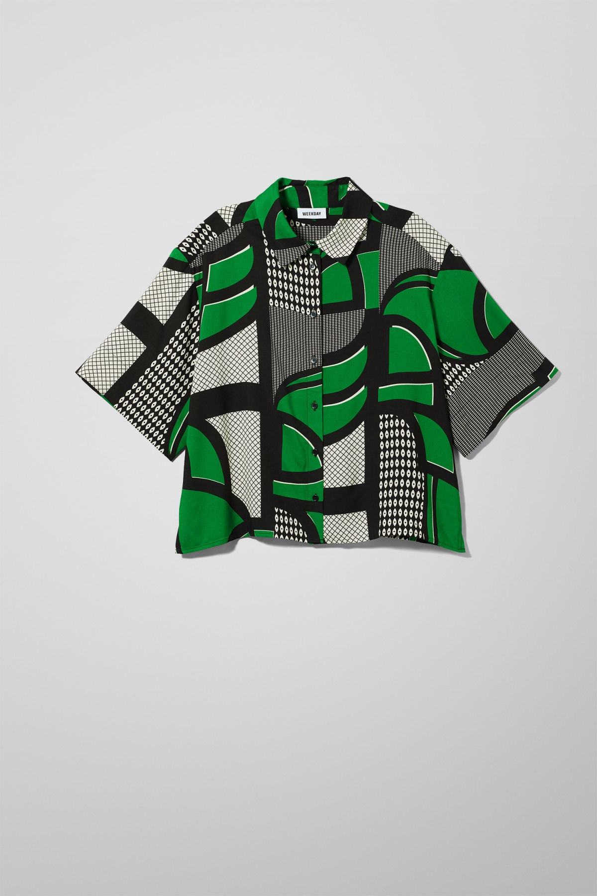 Front image of Weekday hall short sleeve shirt in green