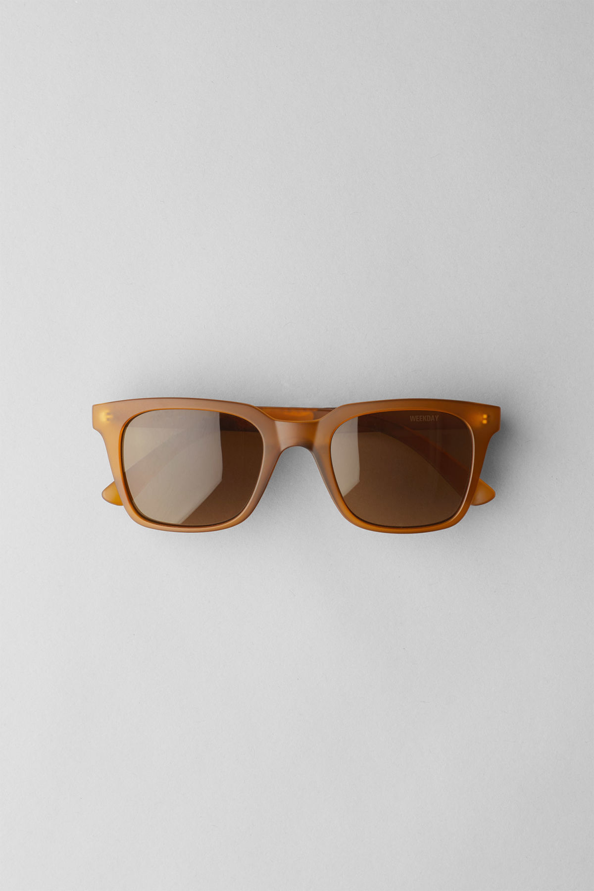 Front image of Weekday gate squared sunglasses in yellow