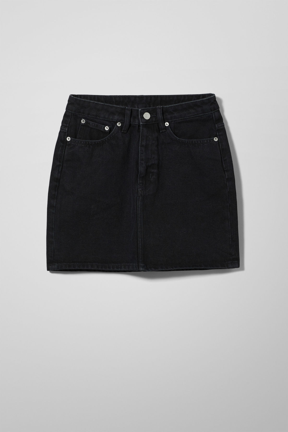 Front image of Weekday wend black denim skirt  in black