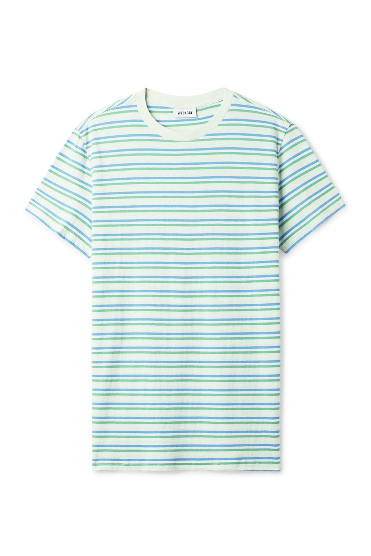Front image of Weekday alan stripe t-shirt in turquoise
