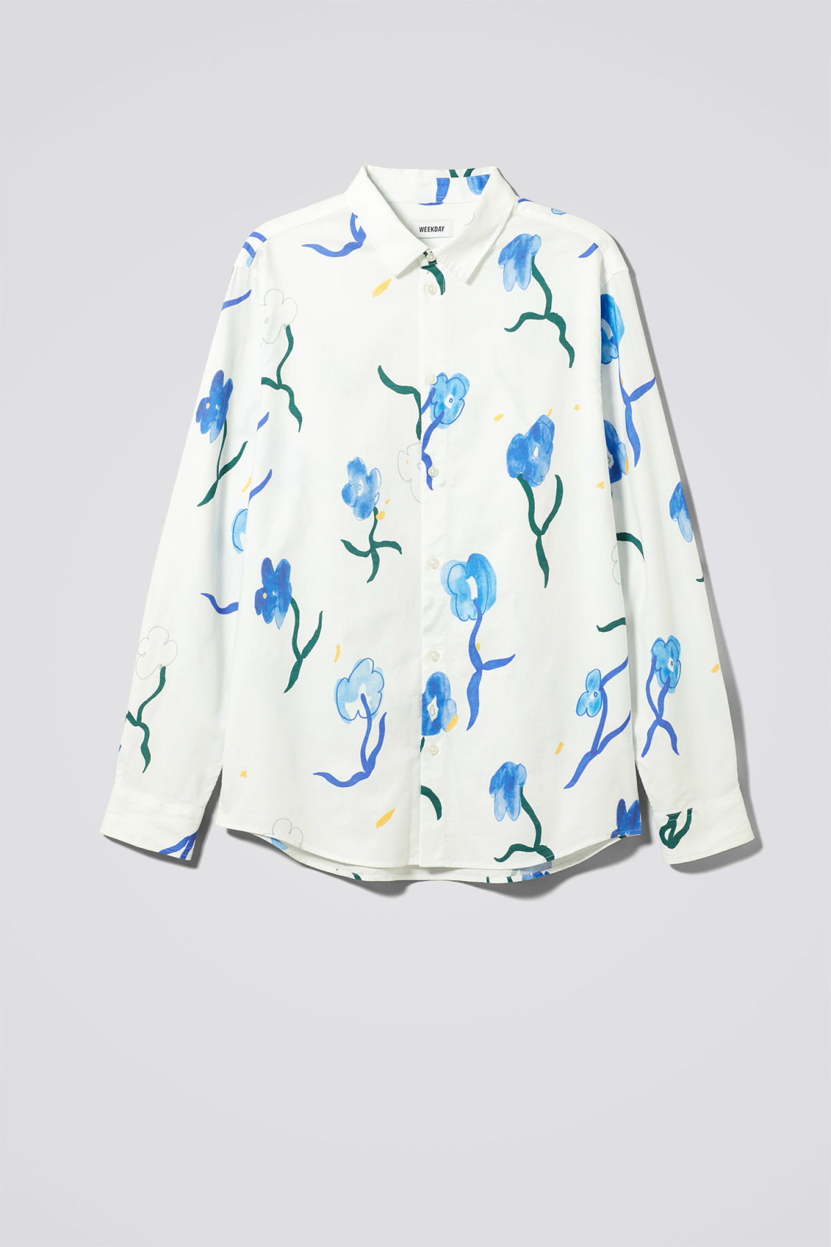 Front image of Weekday lead water bloom shirt in white