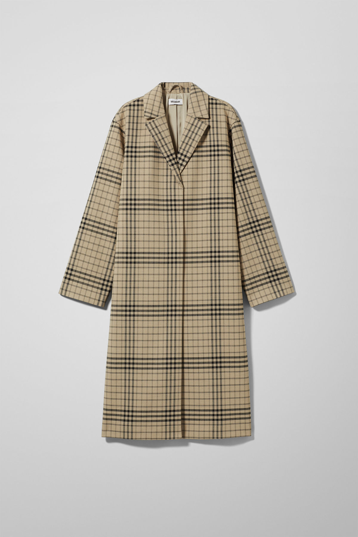 Front image of Weekday lond checked coat in beige