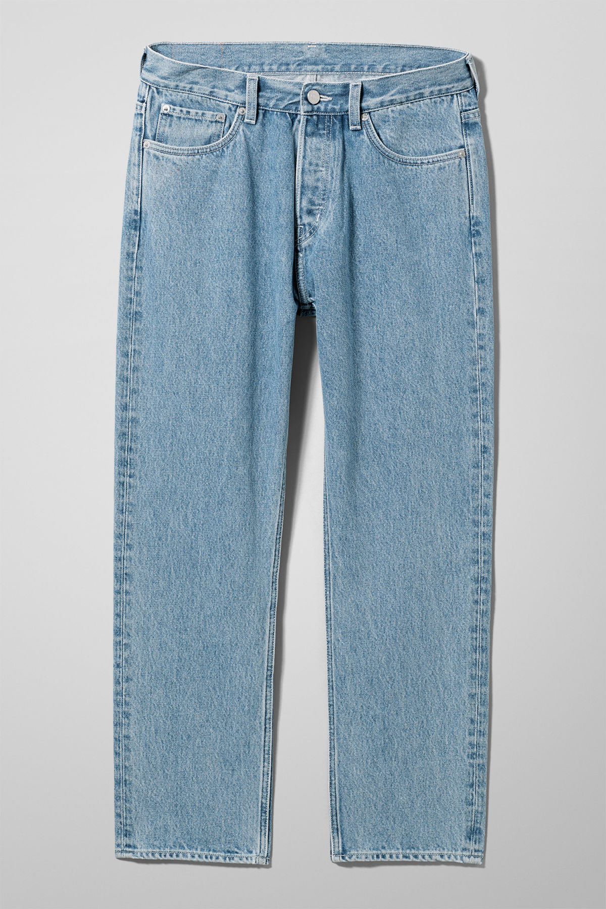 Front image of Weekday vacant cropped sky blue jeans in blue