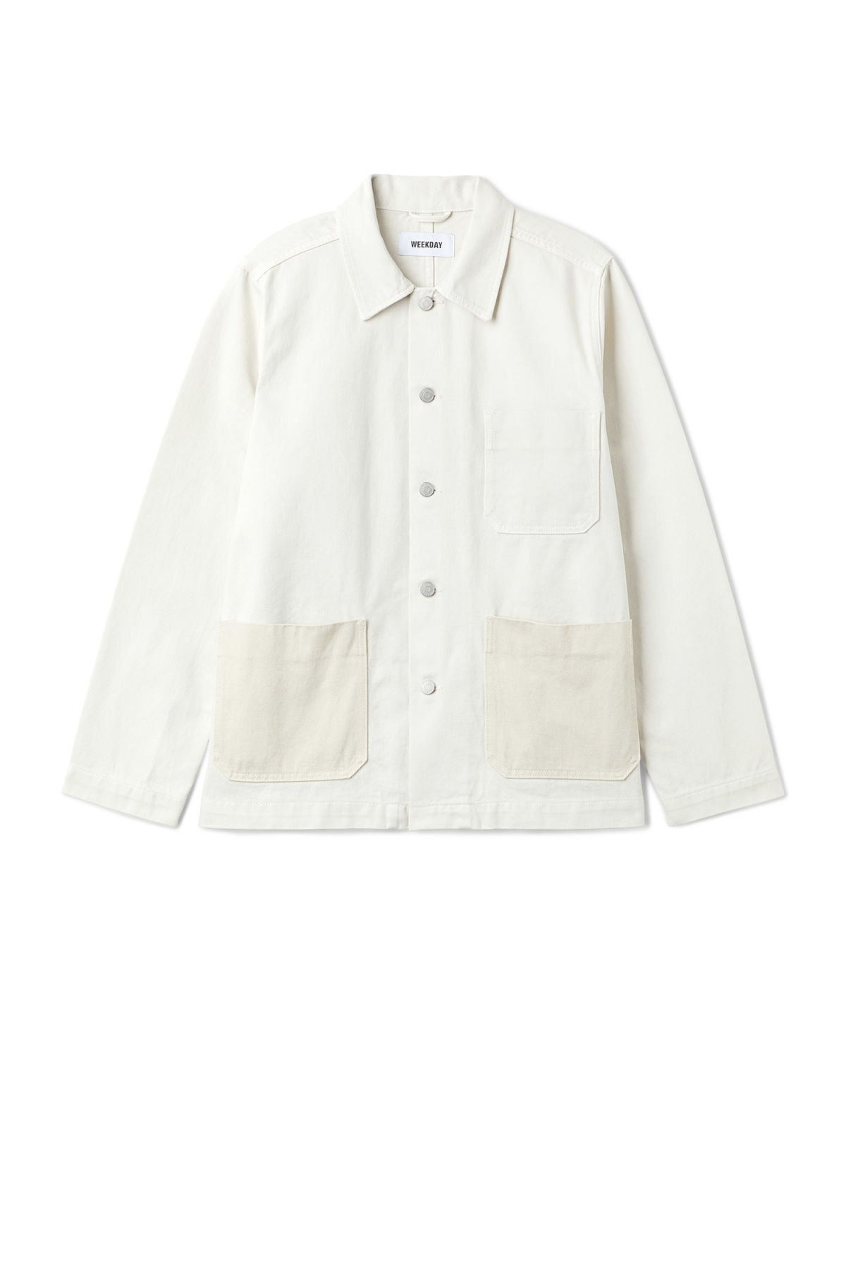 Front image of Weekday generic two-toned jacket in white
