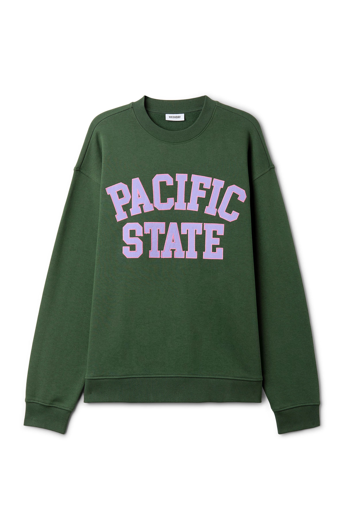 Front image of Weekday big steve pacific sweatshirt in green