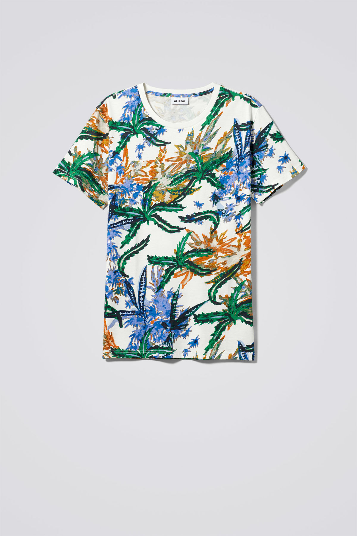 Front image of Weekday alex tropical fire t-shirt in white