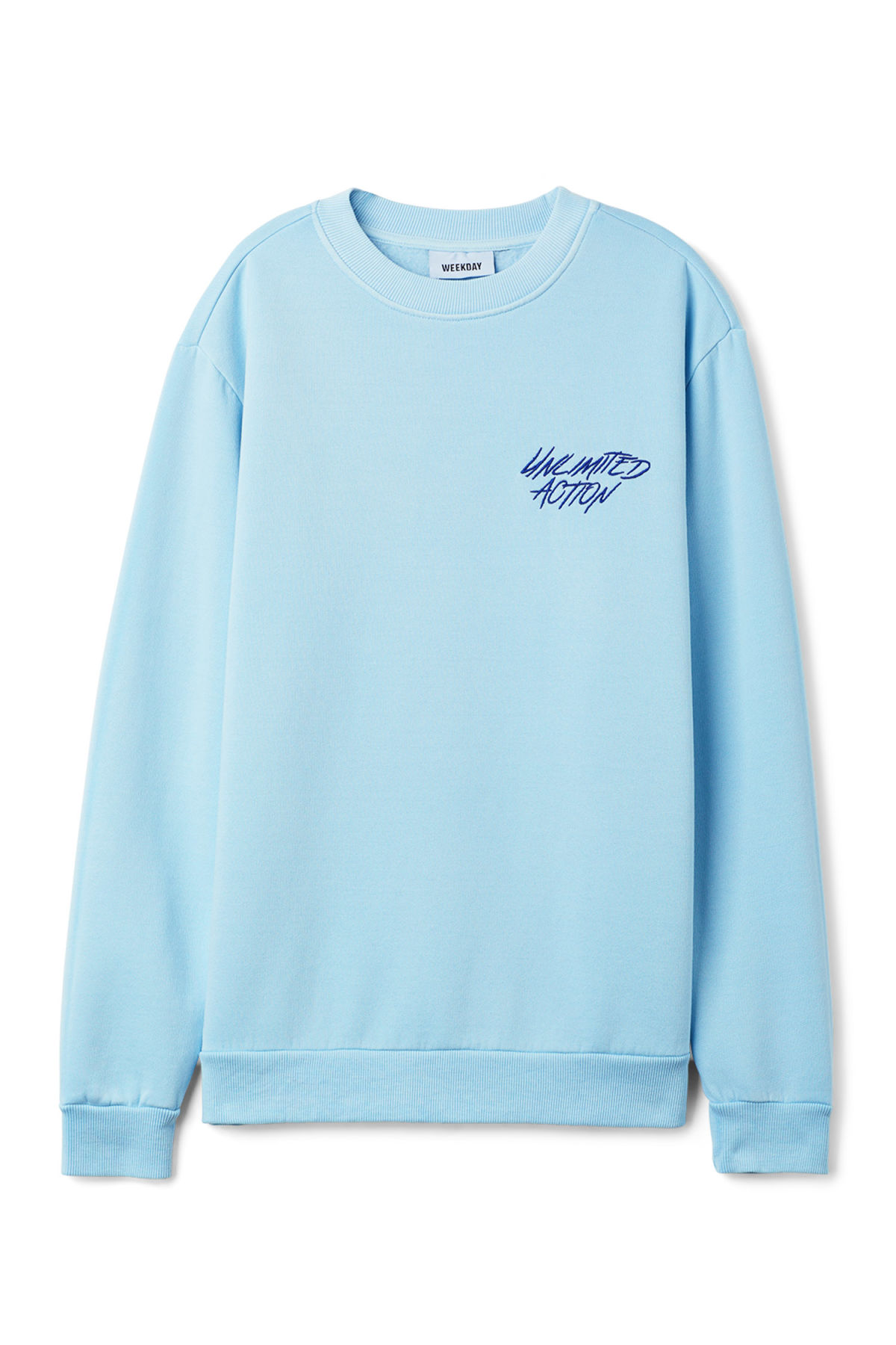 Front image of Weekday steve printed sweatshirt in blue