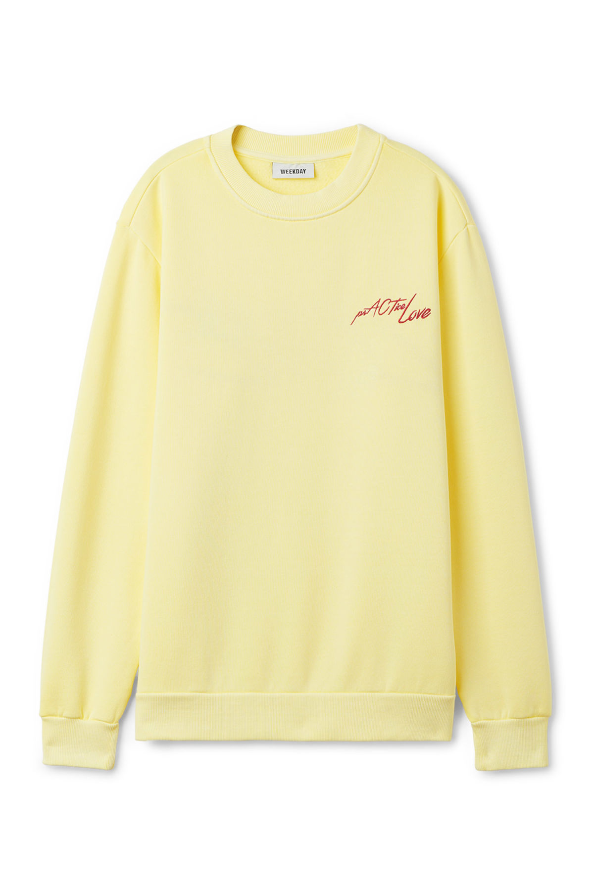 Front image of Weekday steve printed sweatshirt in yellow