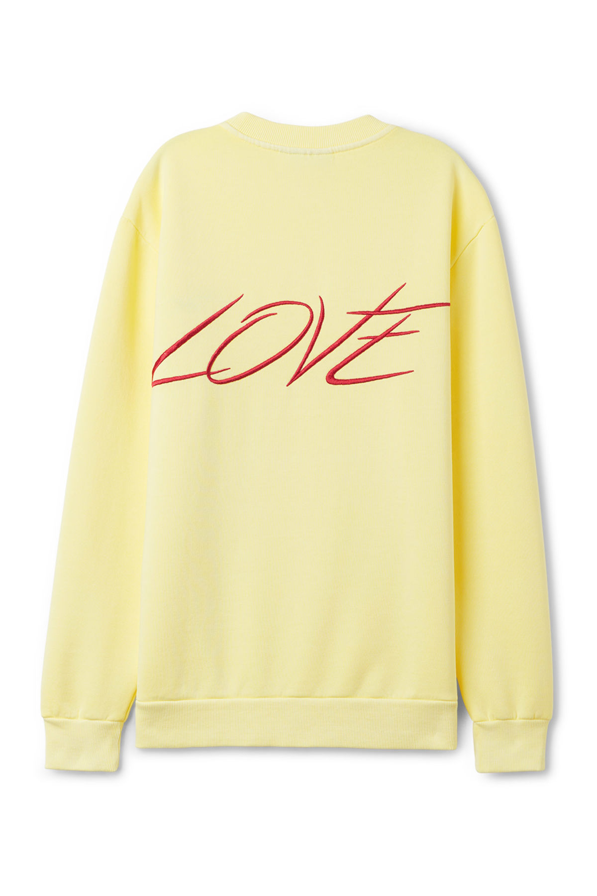Back image of Weekday steve printed sweatshirt in yellow