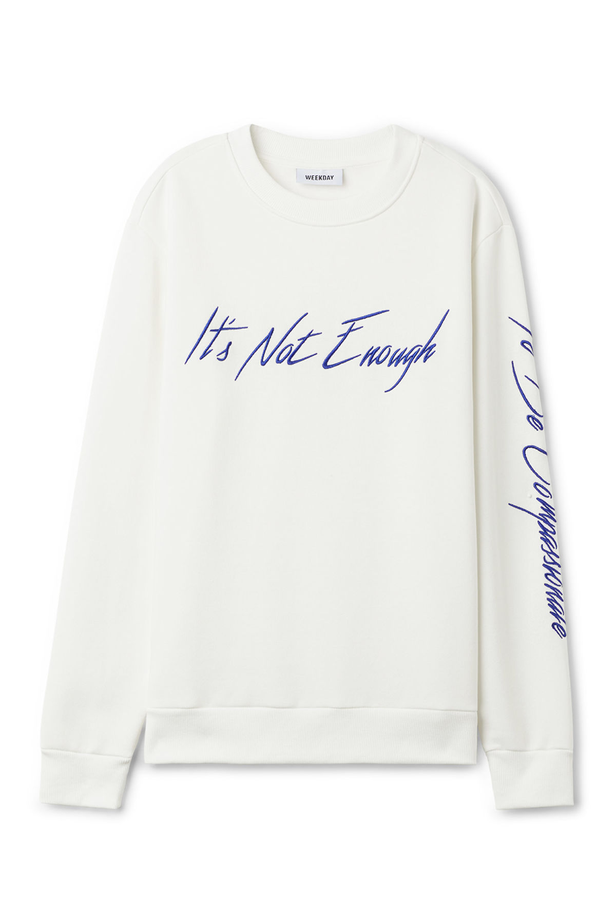 Front image of Weekday steve printed sweatshirt in white