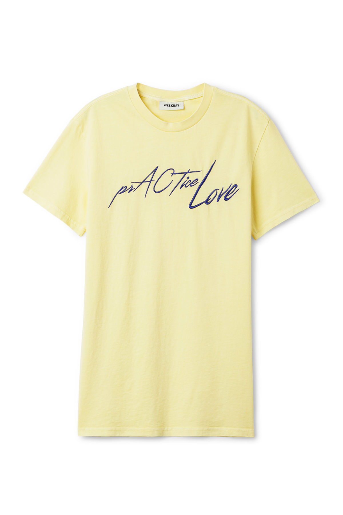 Front image of Weekday alan printed t-shirt  in yellow