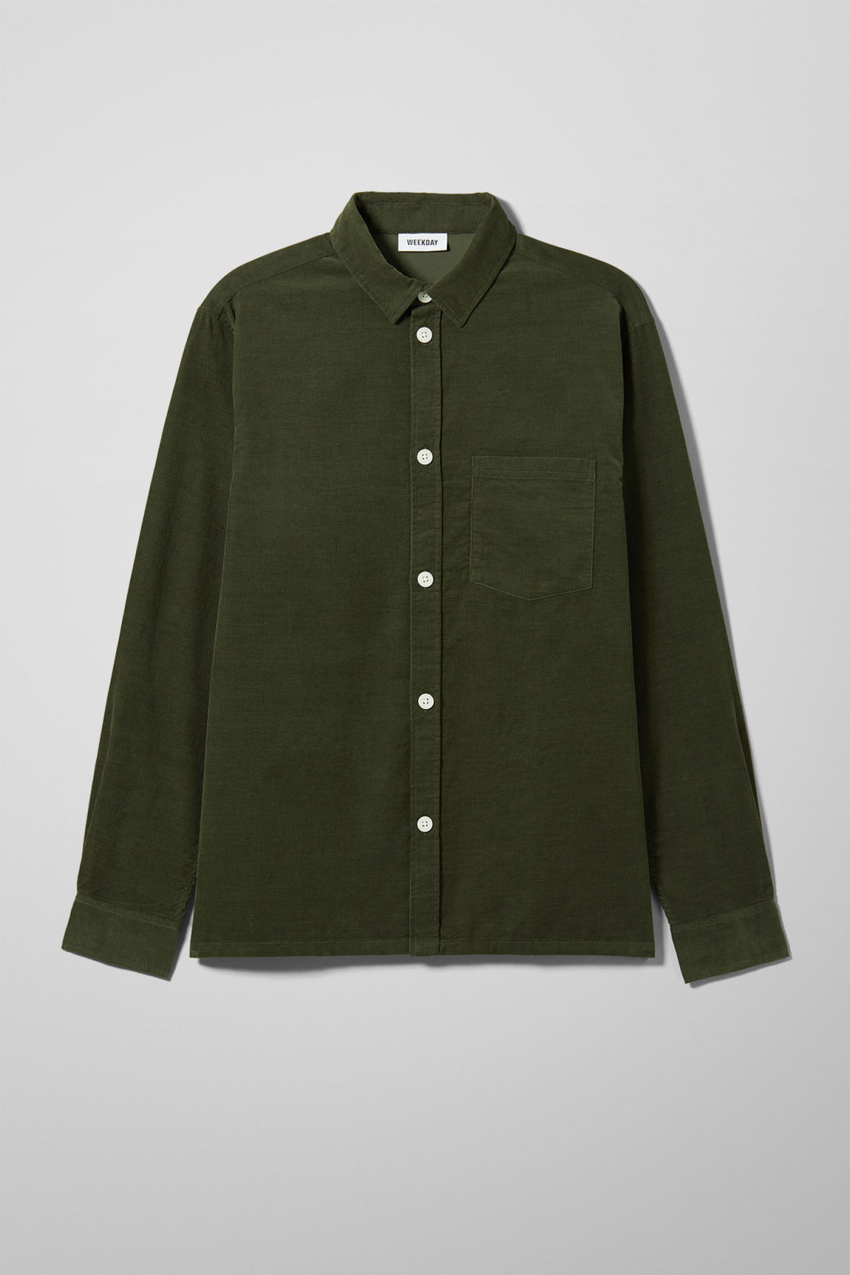 Front image of Weekday wise cord shirt in green