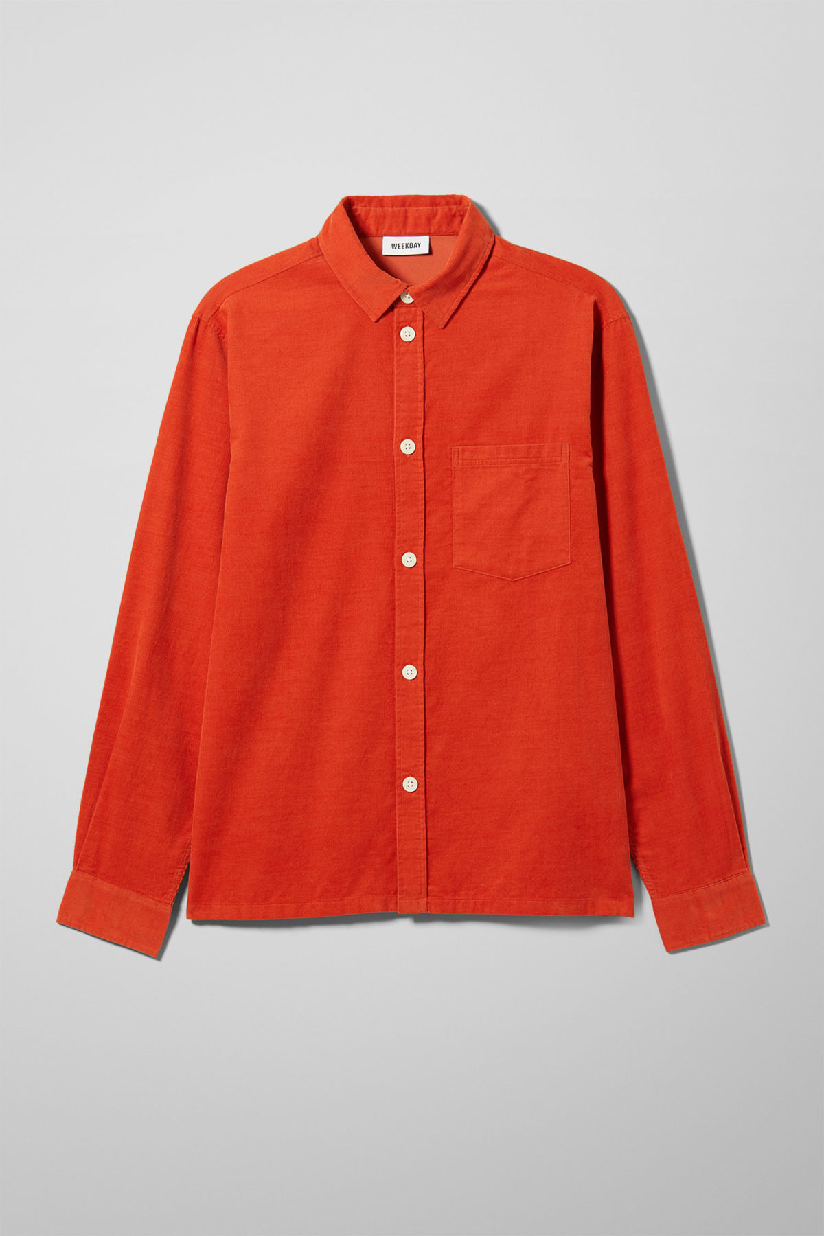 Front image of Weekday wise cord shirt in orange