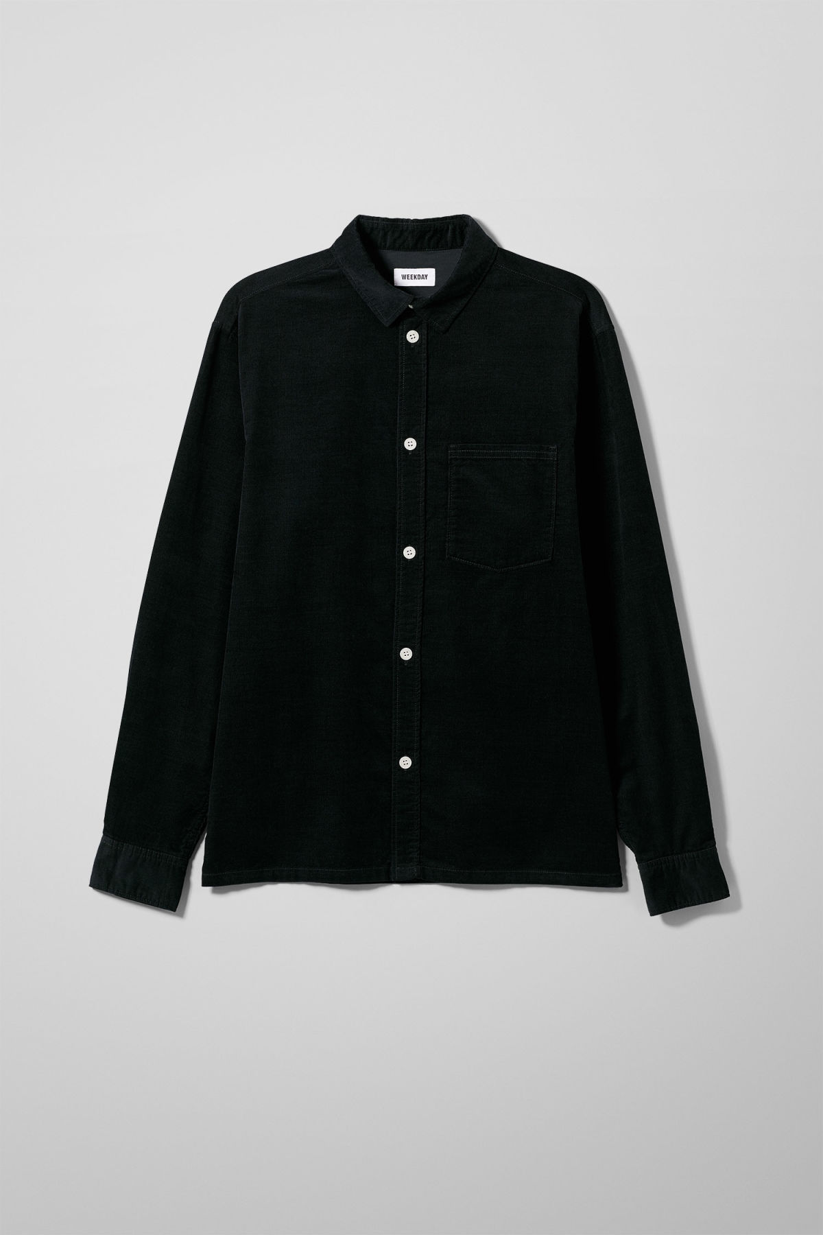 Front image of Weekday wise cord shirt in black