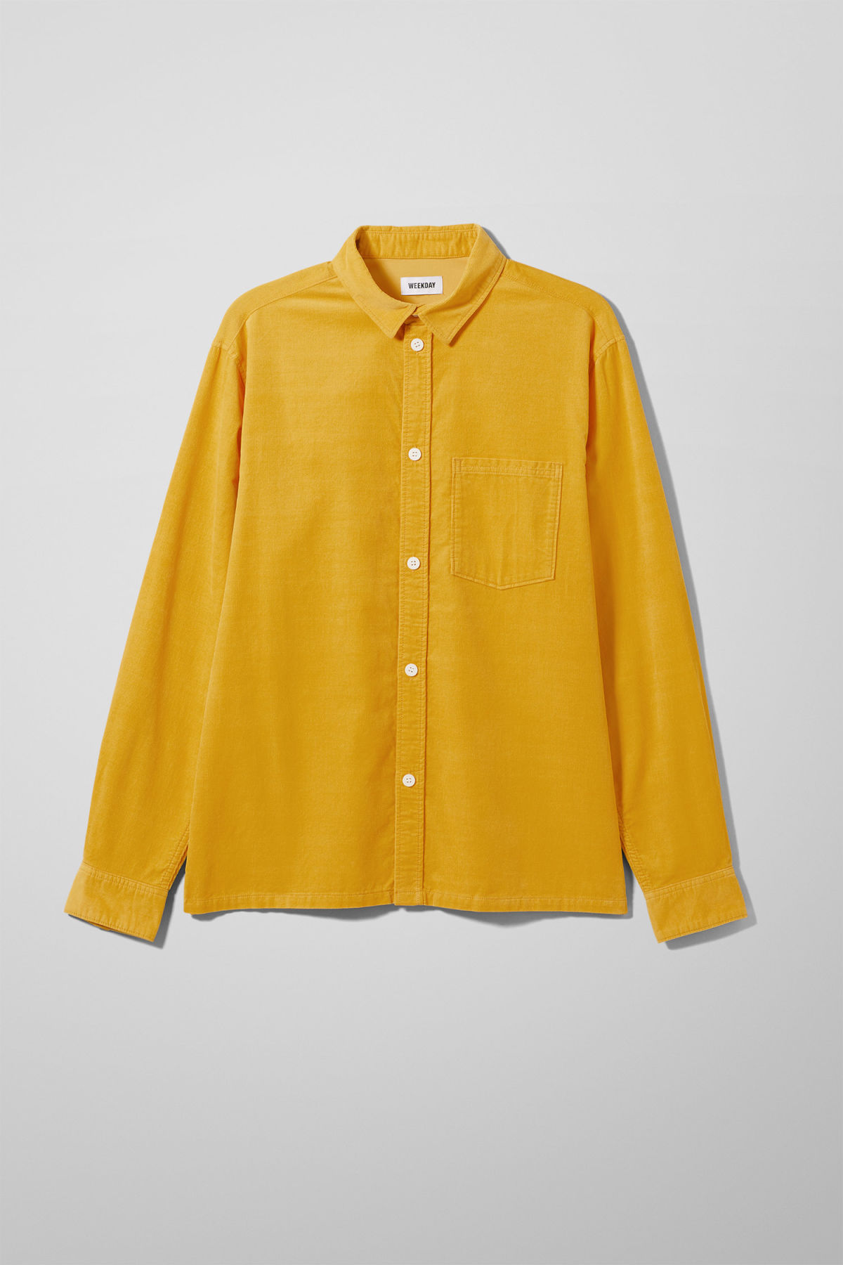 Front image of Weekday wise cord shirt in yellow