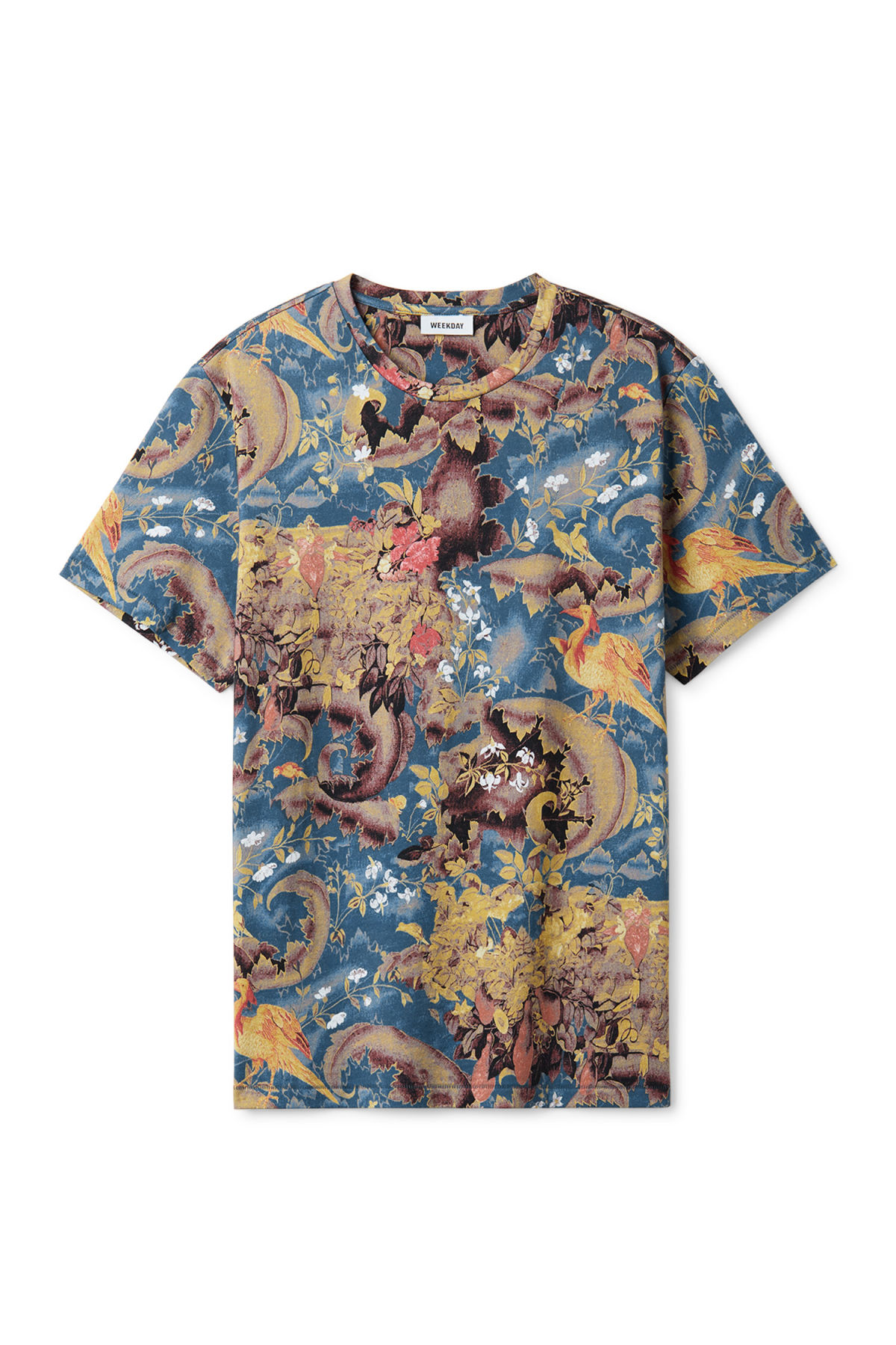 Front image of Weekday jonston bird tapestry t-shirt in blue