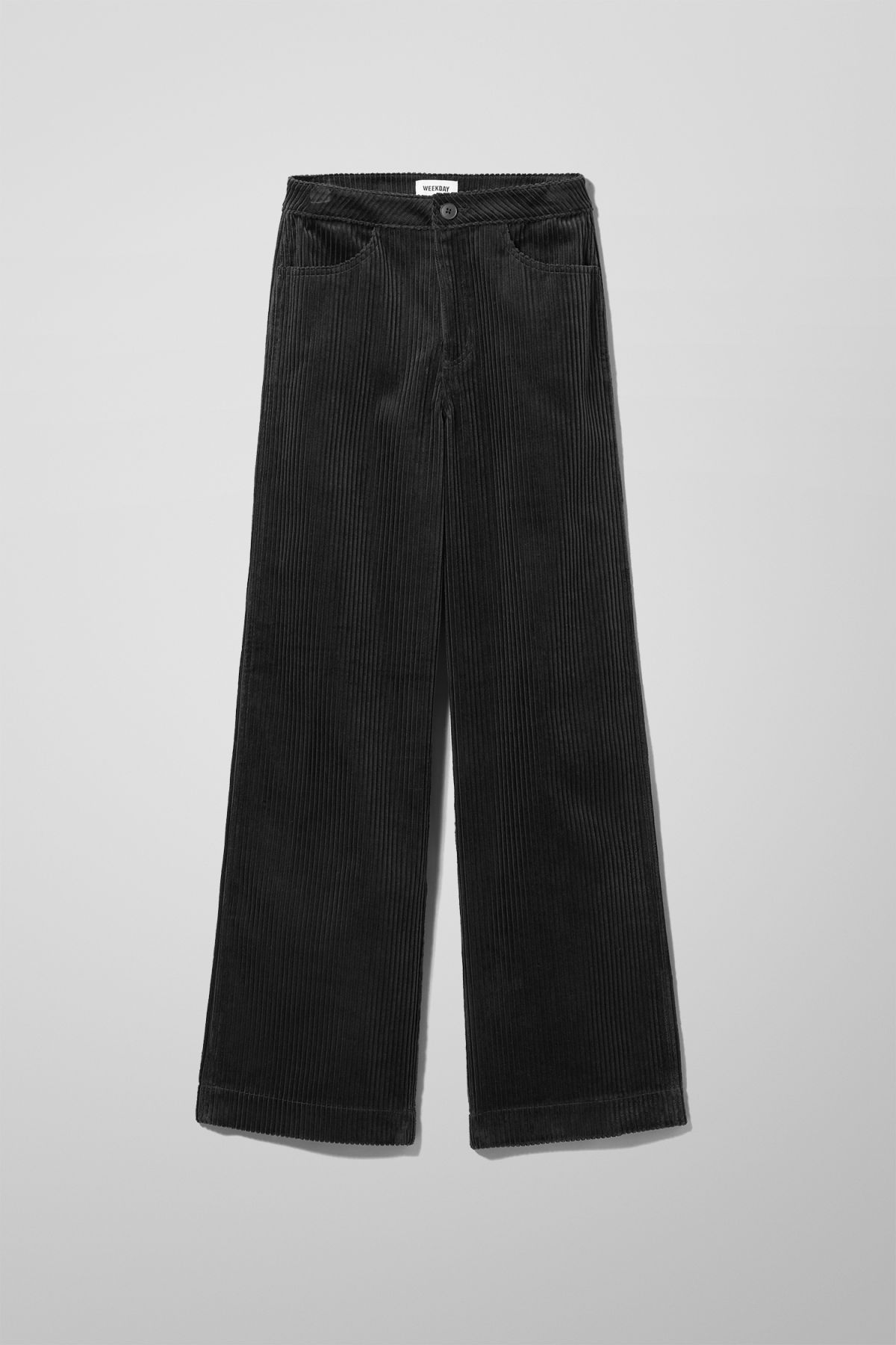 Front image of Weekday livia trousers in black