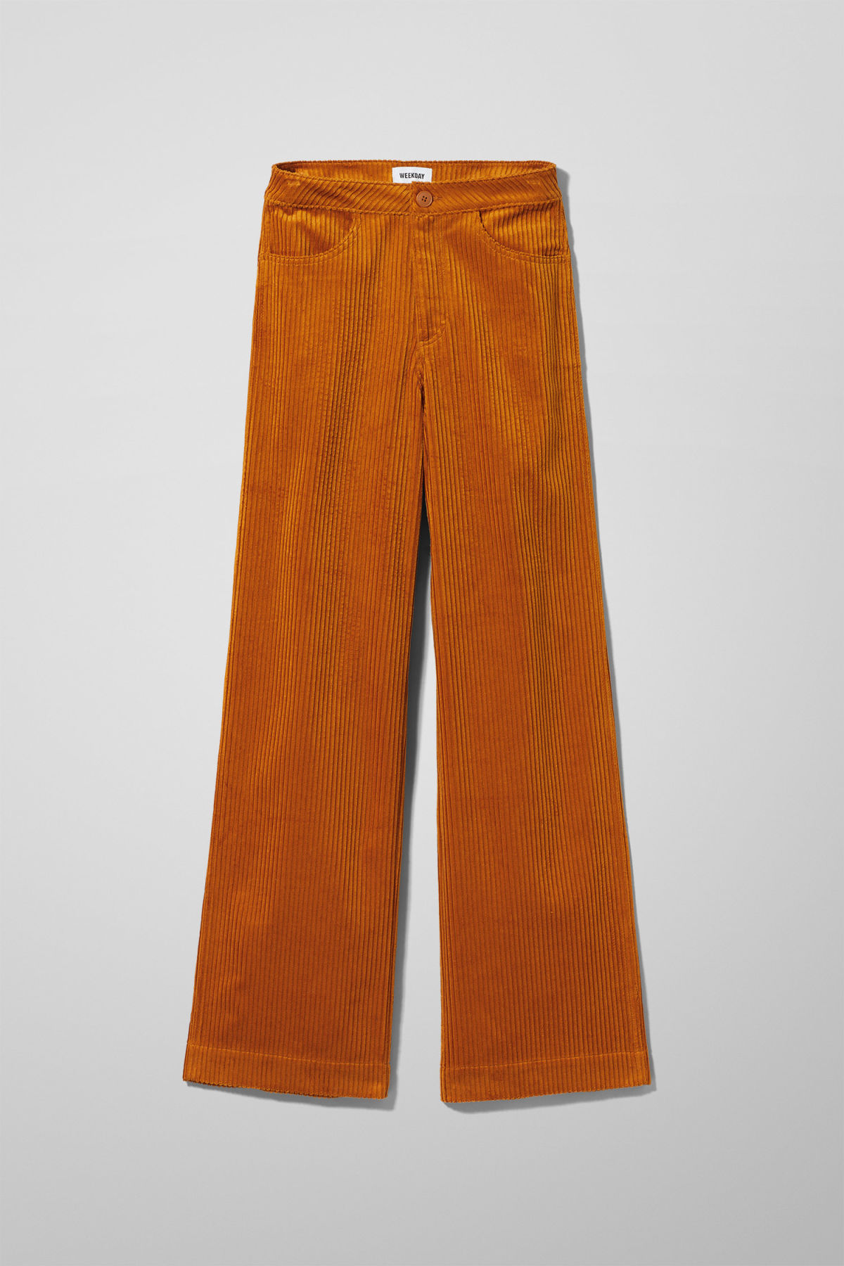 Front image of Weekday livia trousers in yellow